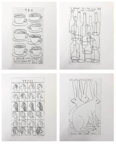 Matching Set of 4 Etchings by David Schrigley