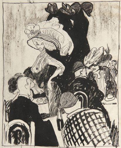 Café Scene in Paris by Julia Feininger