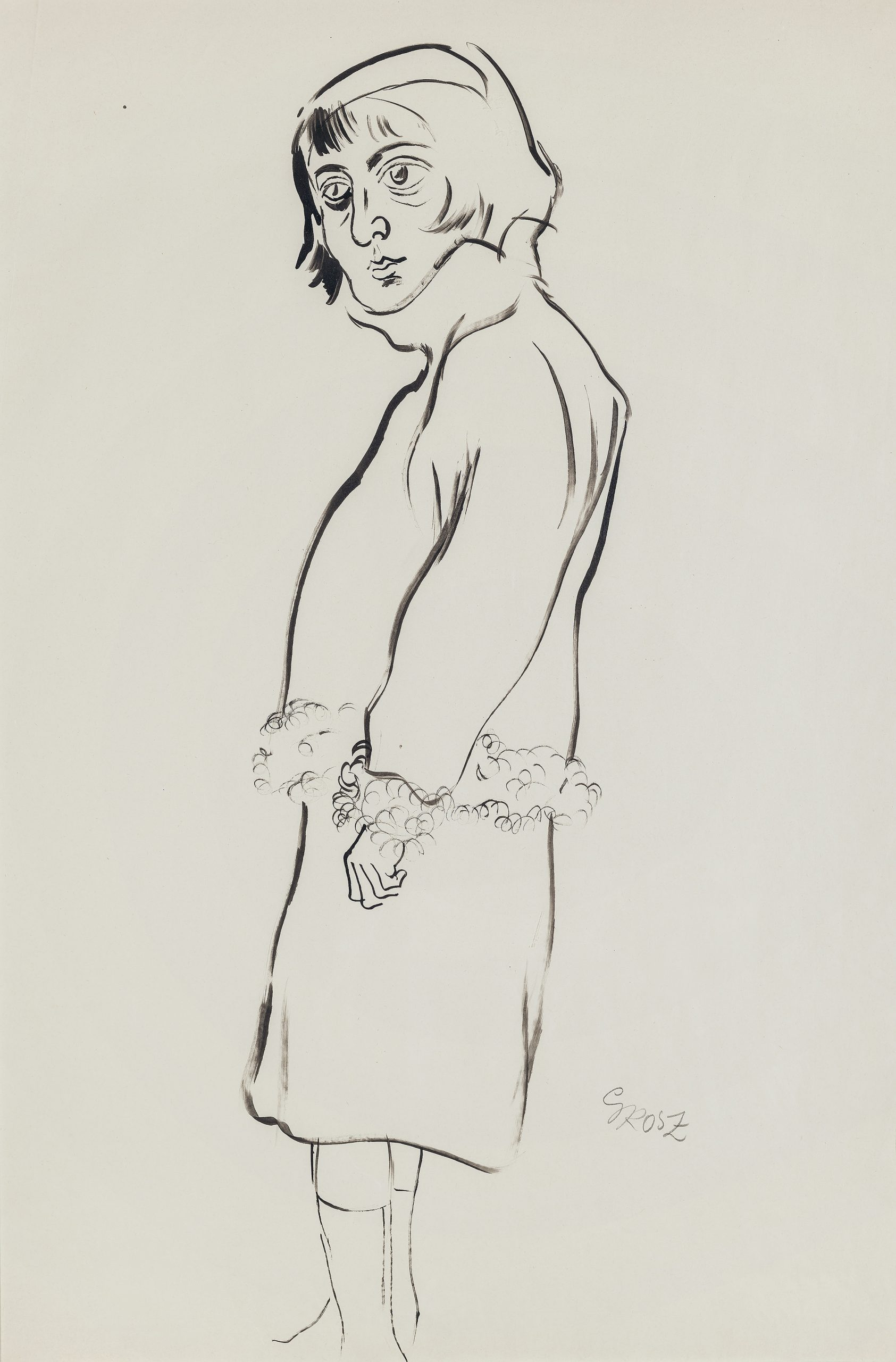 Woman with Fur-Trimmed Jacket by George Grosz