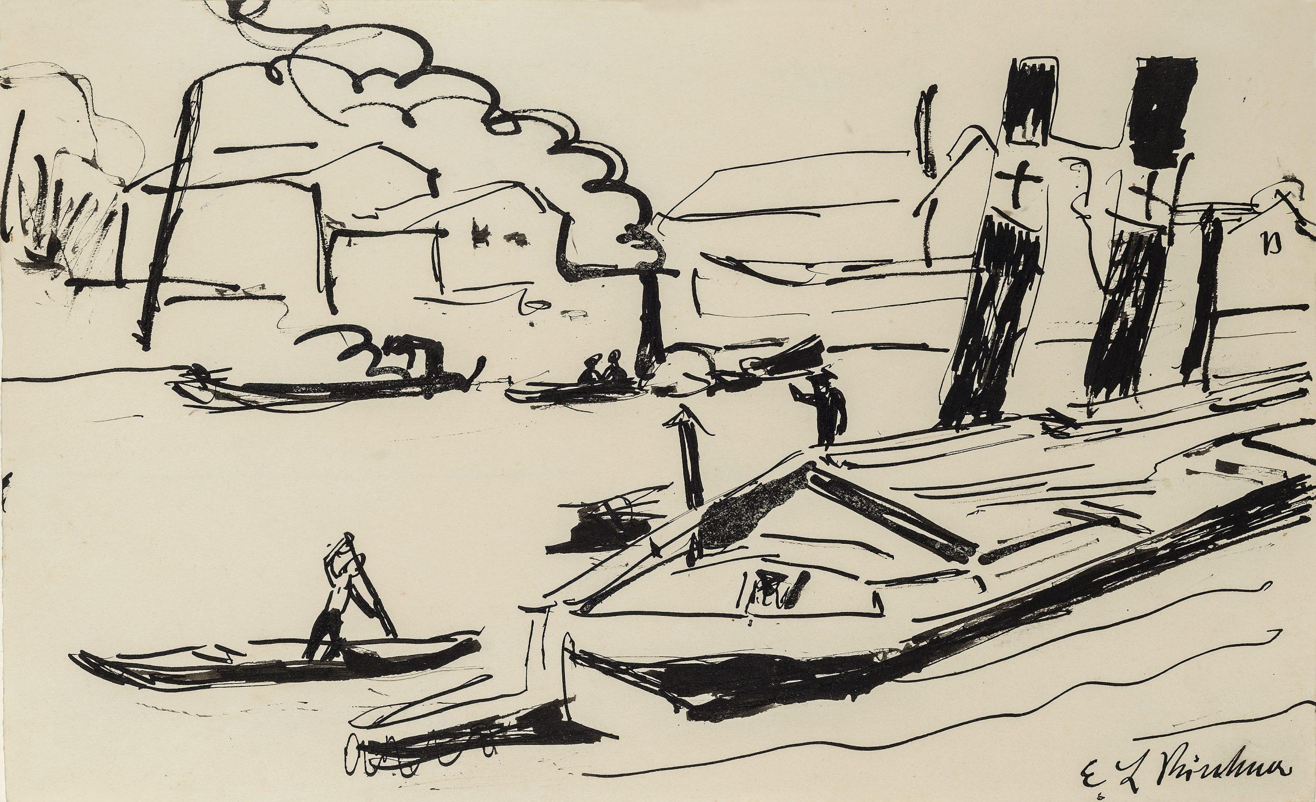 Elbdampfer – Barges by Ernst Ludwig Kirchner