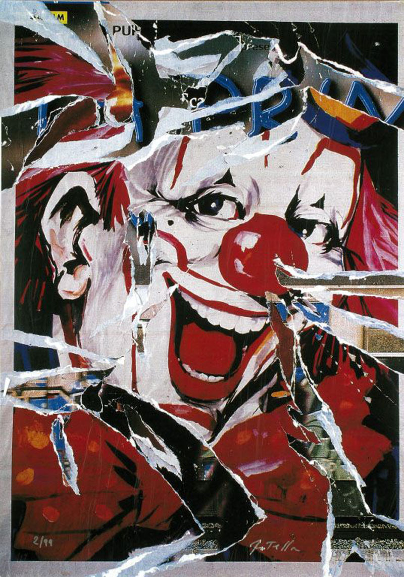 Il Clown ci Guarda by Mimmo Rotella