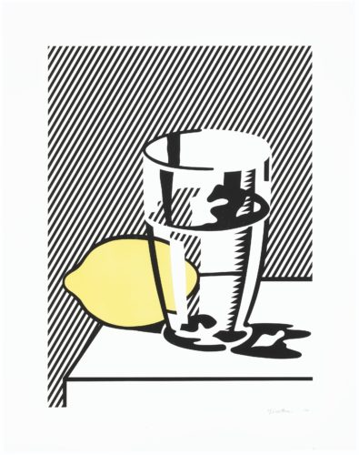 Still life with lemon and glass by Roy Lichtenstein