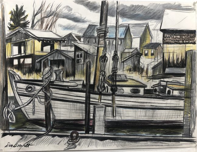 Schooner and Work Sheds by Don Gorvett