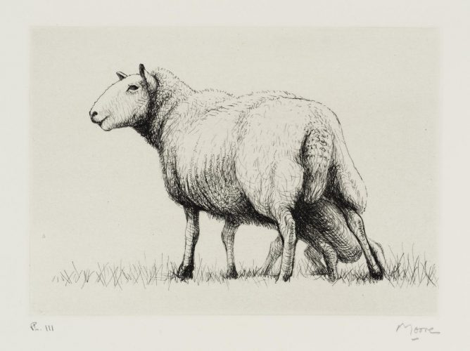 Sheep with Lamb II by Henry Moore at Eames Fine Art