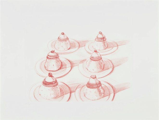 Six Italian Desserts by Wayne Thiebaud at Michael Lisi/Contemporary Art