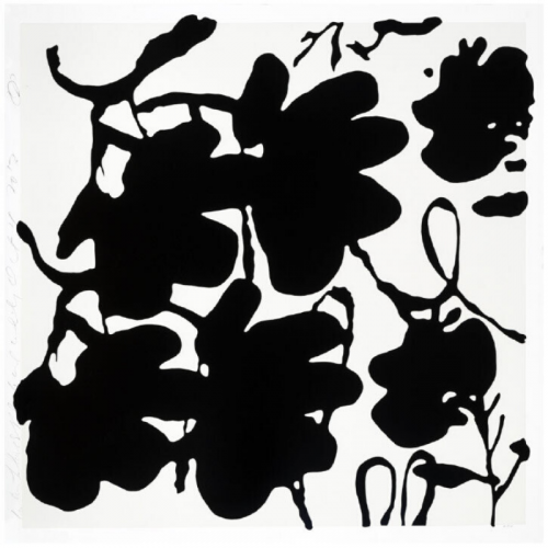 Lantern Flowers, Black And White by Donald Sultan at Maune Contemporary
