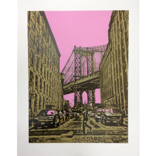 Manhattan Bridge (Pink) by Nick Walker
