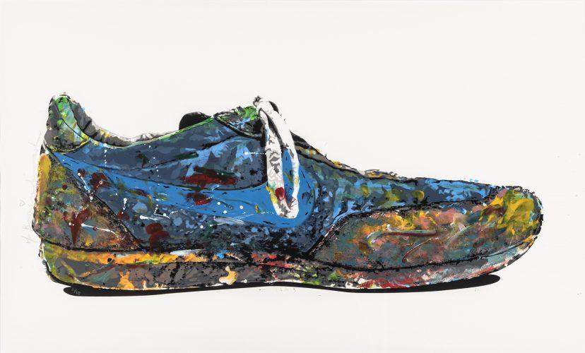 Bleu Nike Shoe by Mr Brainwash