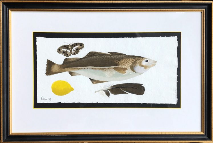 Fish, Butterfly, Lemon & Feather by Mary Fedden