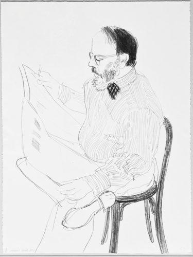 Henry reading the newspaper by David Hockney