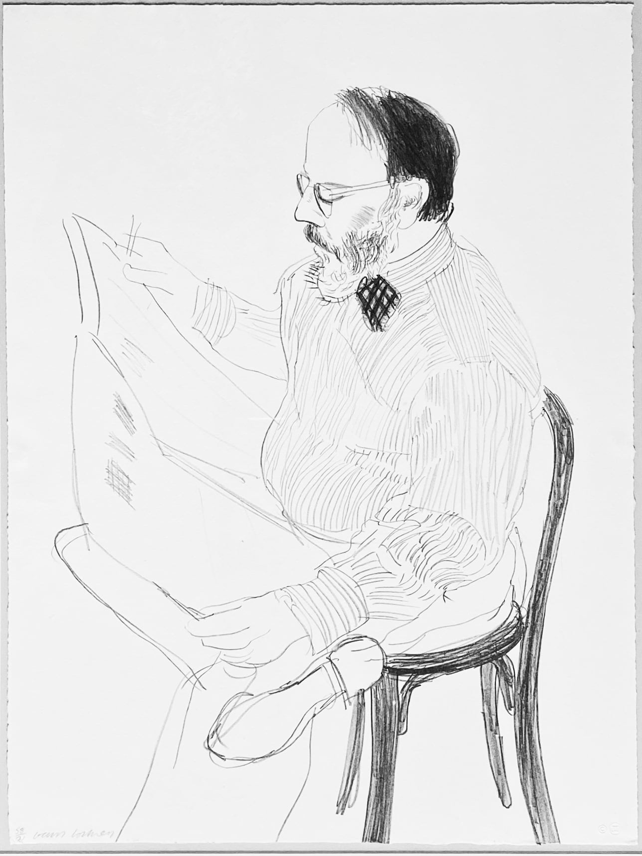 Henry reading the newspaper by David Hockney