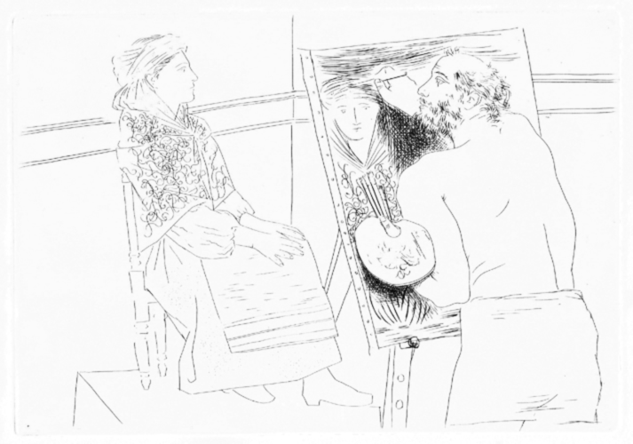 Peintre Chauve devant son Chevalet by Pablo Picasso