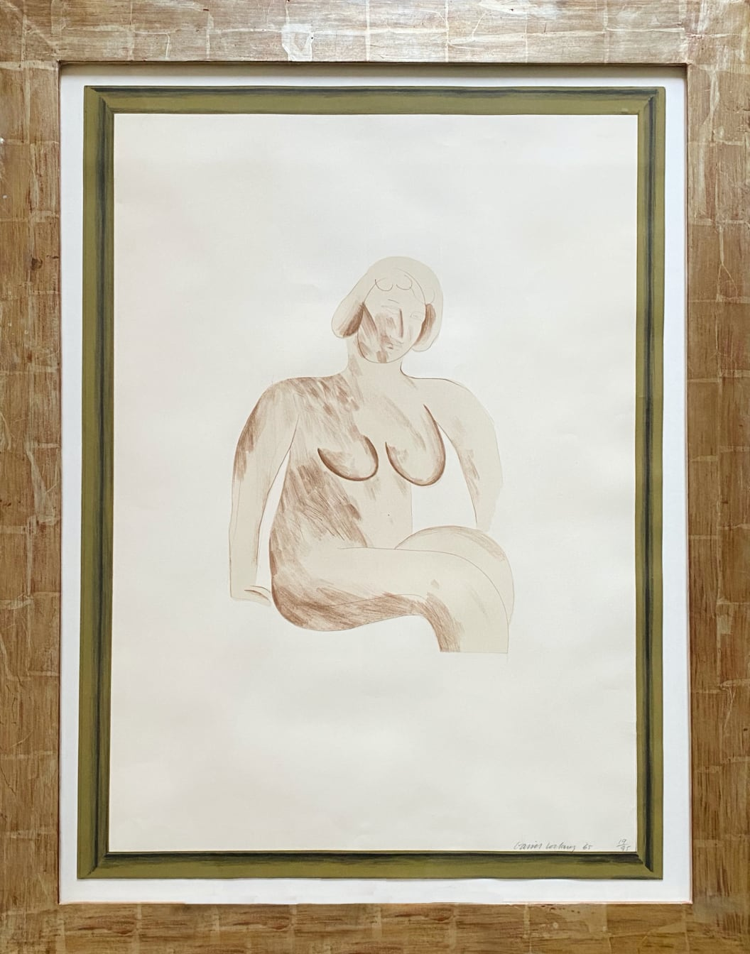 Picture of a Simple Framed Traditional Nude Drawing by David Hockney