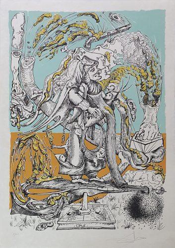 """""""Les Songes Drôlatiques de Pantagruel"""" (Plancha 73-7-U) by Salvador Dali"""