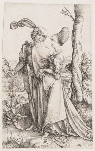Young Couple Threatened by Death (The Promenade) by Albrecht Durer at Christopher-Clark Fine Art
