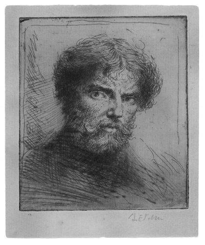 Selfportrait, bust bareheaded. by Augustus John