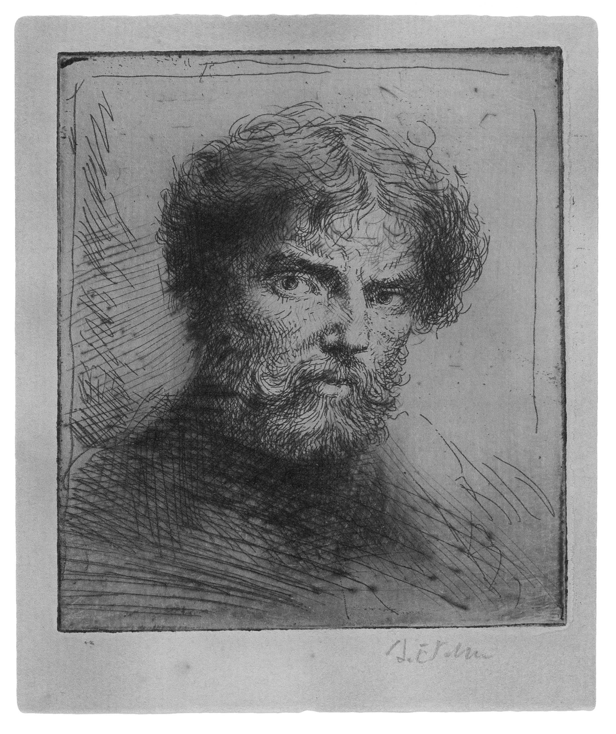 Selfportrait, bust bareheaded. by Augustus John