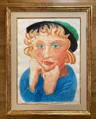 Celia with Green Hat by David Hockney