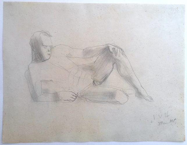 Männlicher Akt liegend by Gerhard Marcks at Schenk.Modern
