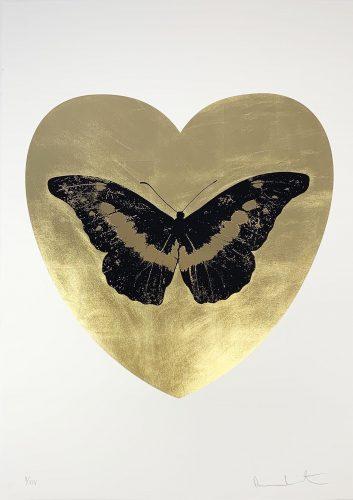 I Love You – Gold Leaf/Black/Cool Gold by Damien Hirst