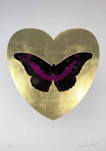 I Love You – Gold Leaf/Black/Fuschsia by Damien Hirst