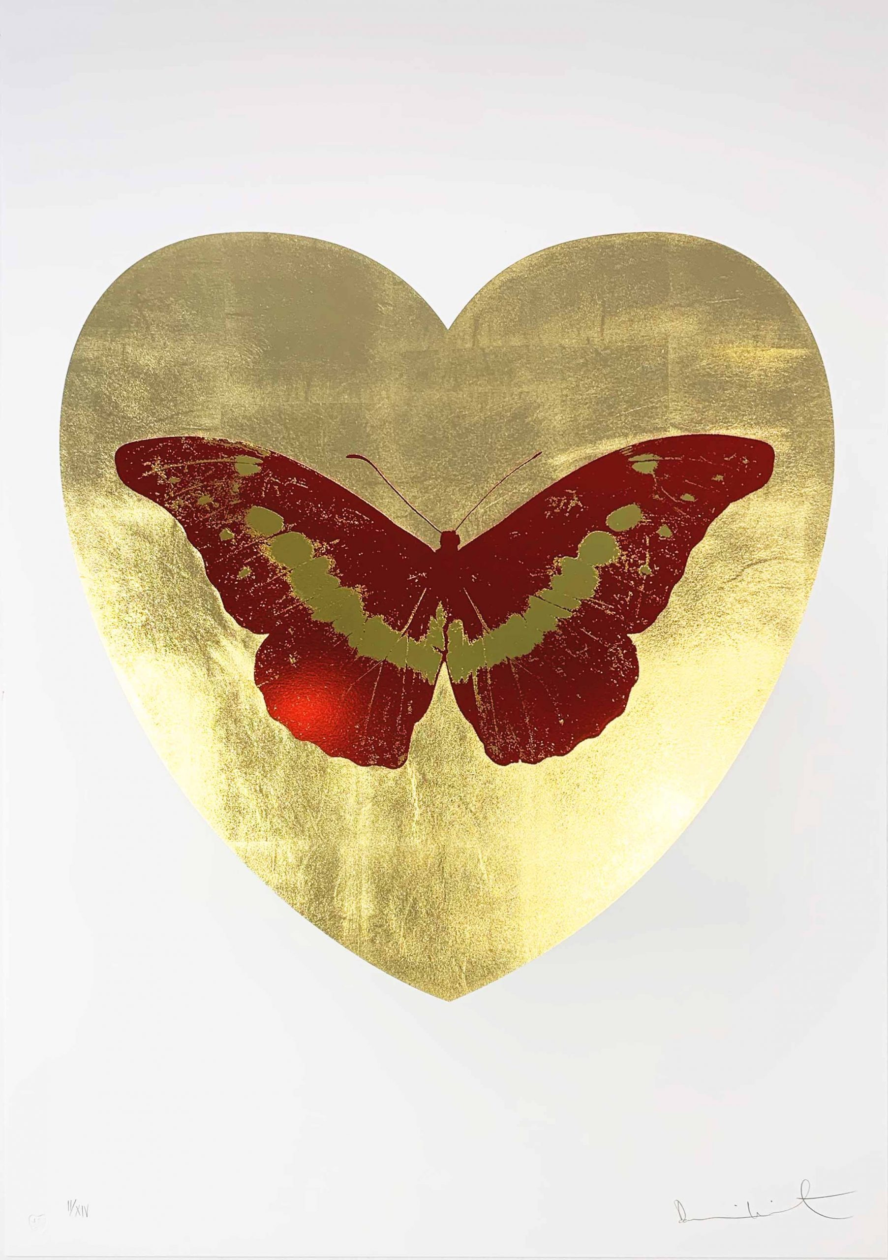 I Love You – Gold Leaf/Poppy Red/Oriental Gold by Damien Hirst