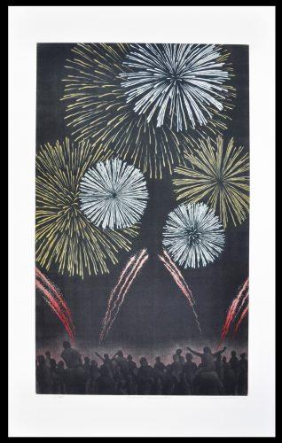 Summer Fireworks by Katsunori Hamanishi at Hanga Ten - Contemporary Japanese Prints
