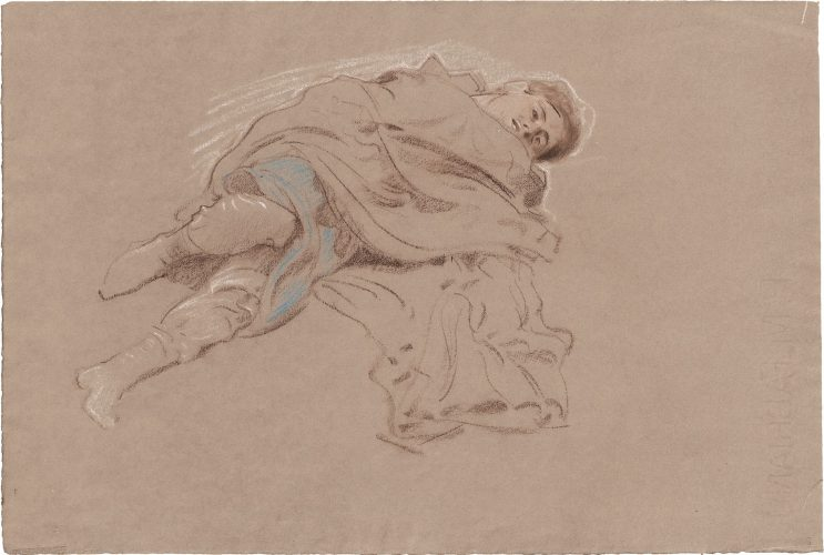 Study of a lying man in a cape by Adolf Hiremy-Hirschl