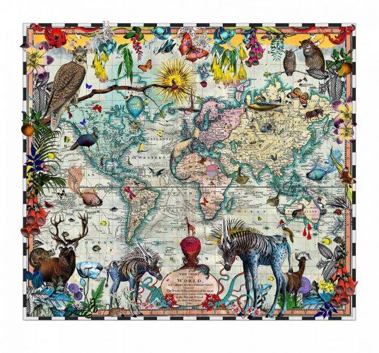 Eminent Navigators' World Chart Map by Kristjana S Williams