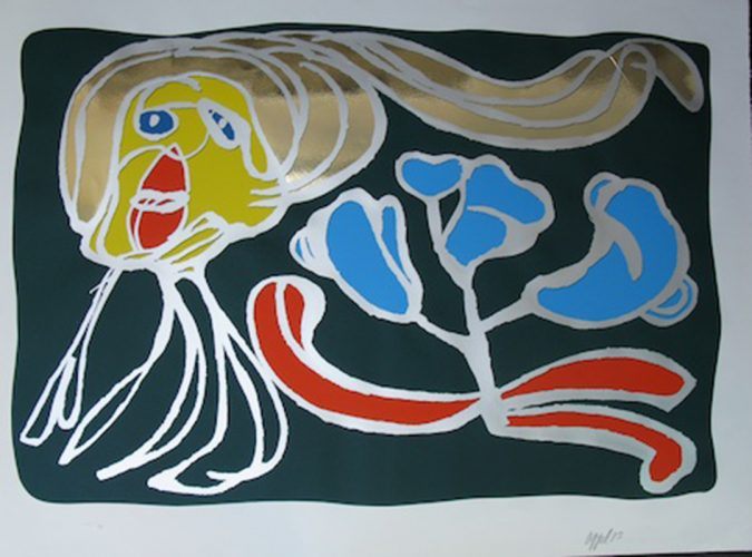 Green floating passion by Karel Appel