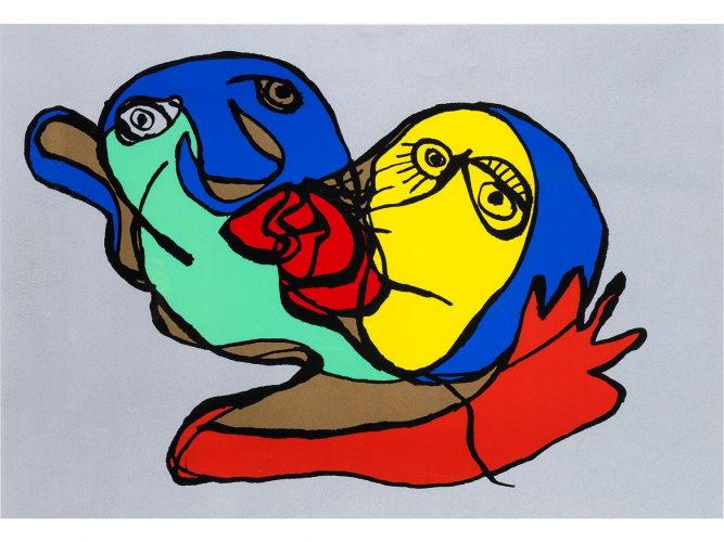 Silvered kiss by Karel Appel