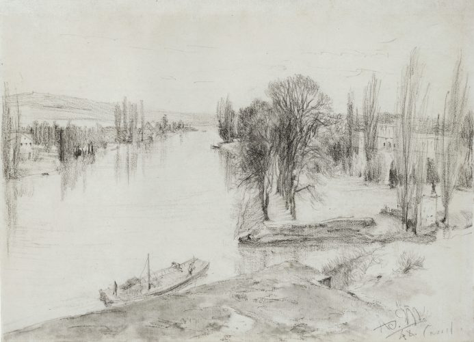 The River Fulda near Kassel by Adolph Menzel