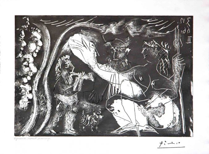 Au Theatre: Couple Avec un Flutiste et un Petit Chien, from the 60 Series by Pablo Picasso