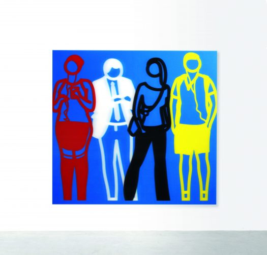 Standing People (Red, White, Black Yellow) by Julian Opie