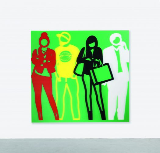 Standing People (Red, Yellow, Black, White) by Julian Opie