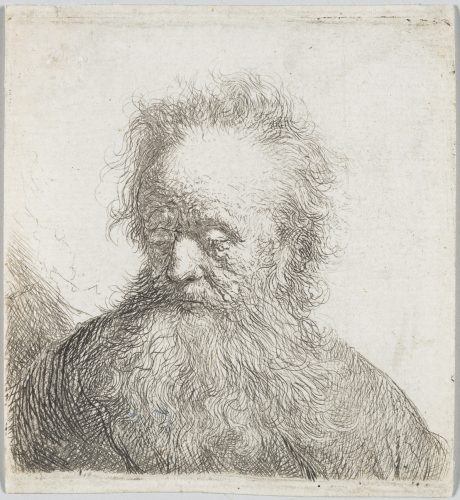 Old Man with a Flowing Beard:  Bust by Harmensz van Rijn Rembrandt