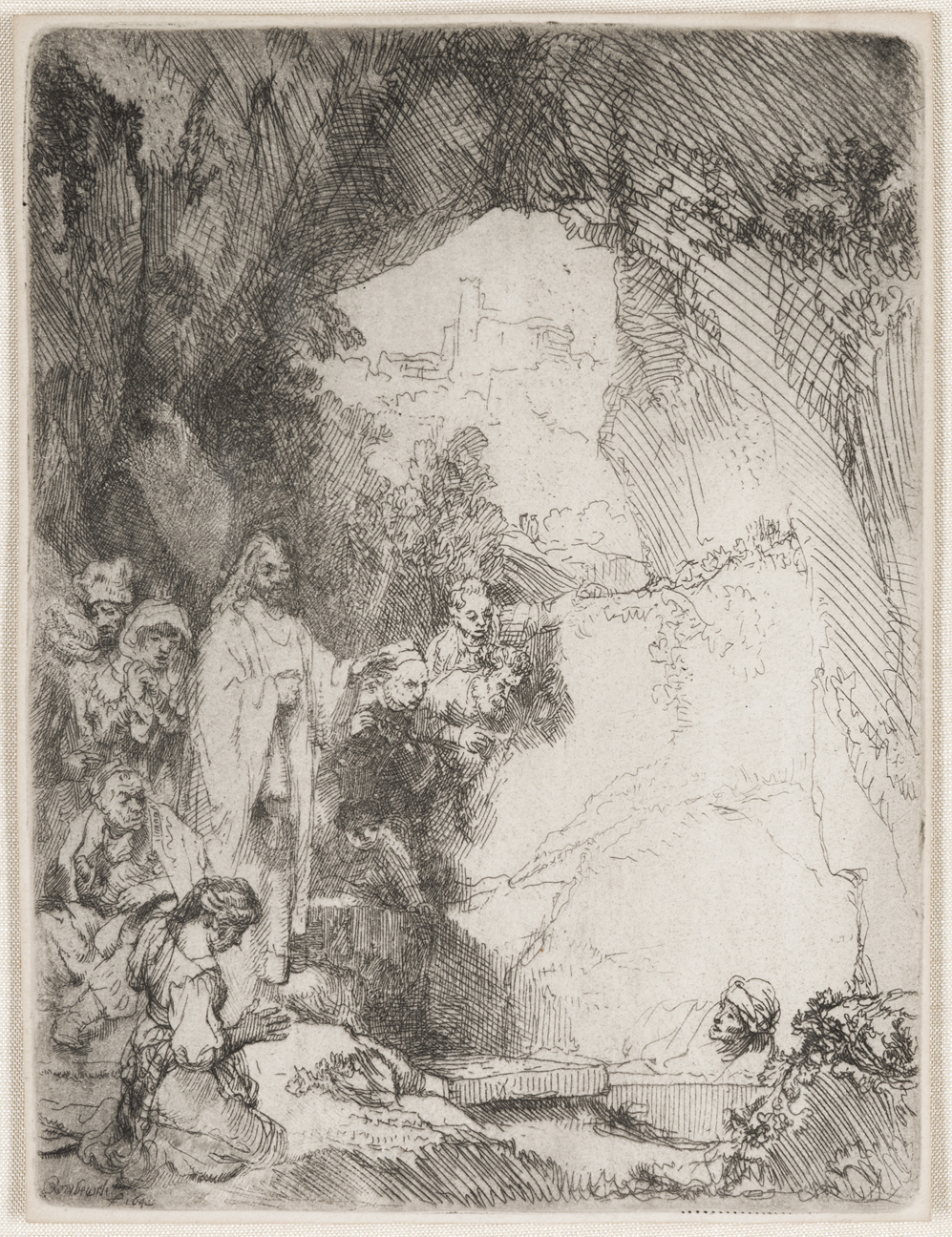 The Raising of Lazarus:  Small Plate by Harmensz van Rijn Rembrandt