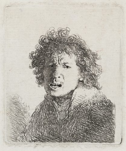 Self-Portrait Open Mouthed, as if Shouting:  Bust by Harmensz van Rijn Rembrandt