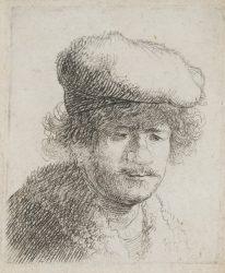Rembrandt with Cap Pulled Forward by Harmensz van Rijn Rembrandt at