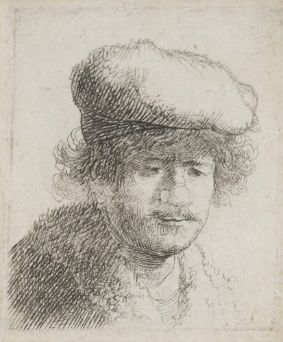 Rembrandt with Cap Pulled Forward by Harmensz van Rijn Rembrandt