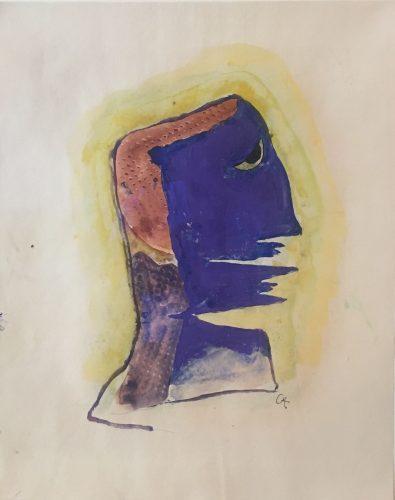 Männlicher Kopf in violett, vor gelben Hintergrund by Karl Hofer at Schenk.Modern