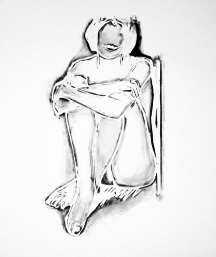 Monica sitting by wall by Tom Wesselmann