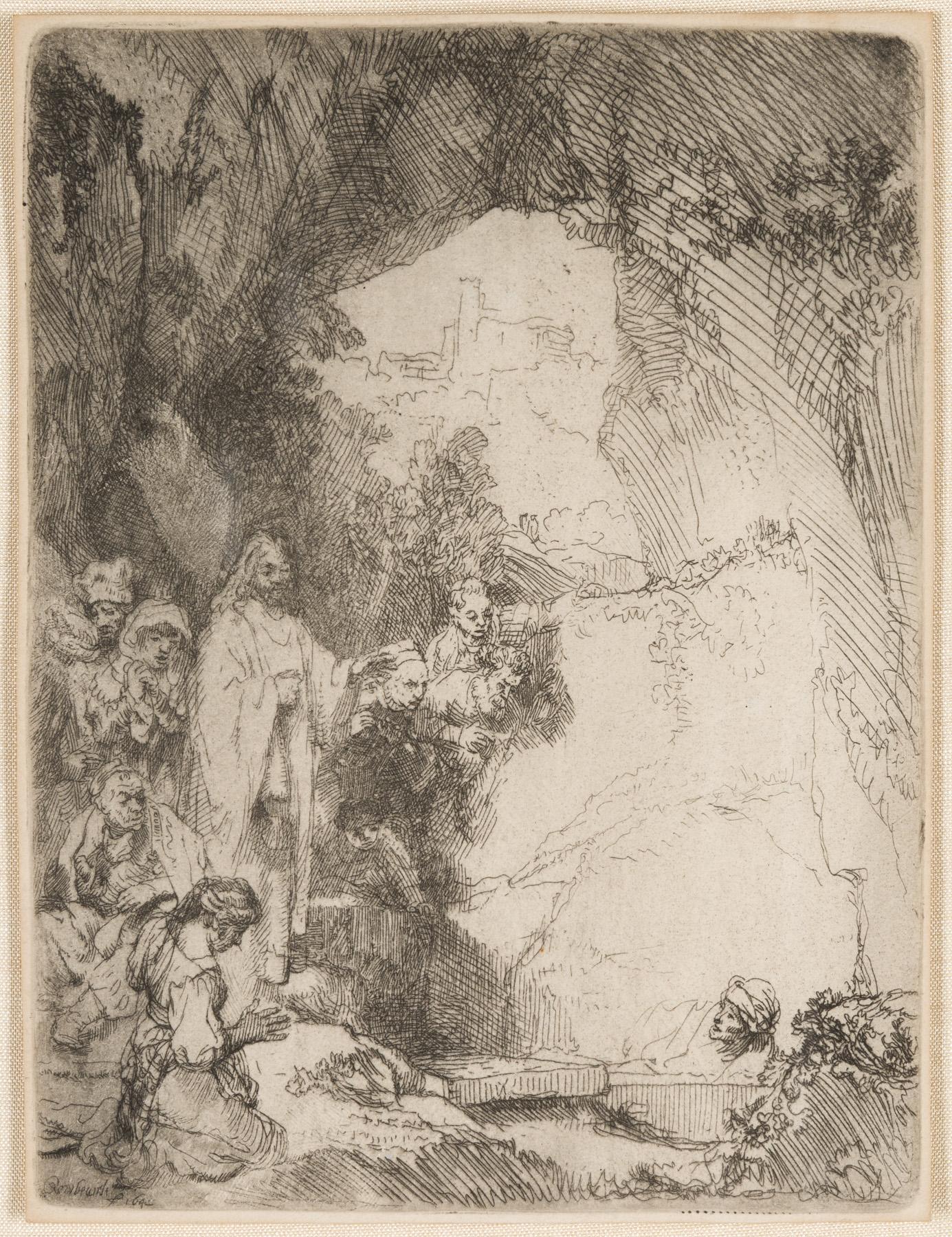 The Raising of Lazarus. Small Plate by Harmensz van Rijn Rembrandt