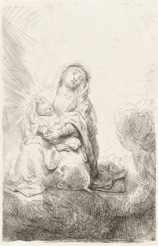 Virgin and Child in the Clouds by Harmensz van Rijn Rembrandt