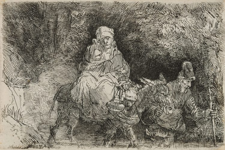 The Flight into Egypt: Crossing a Brook by Harmensz van Rijn Rembrandt