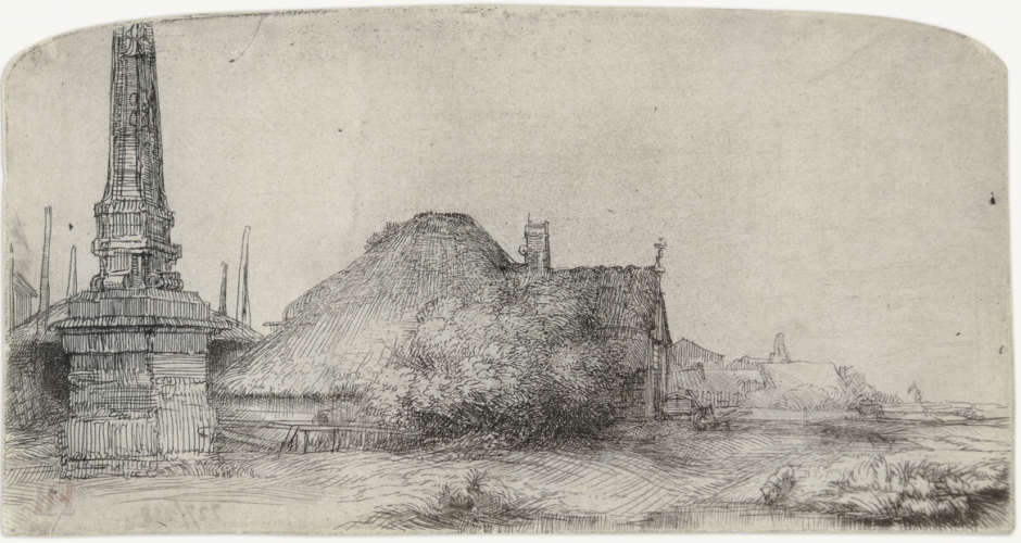 Cottage and Obelisk on the Spaarndammerdijk by Harmensz van Rijn Rembrandt
