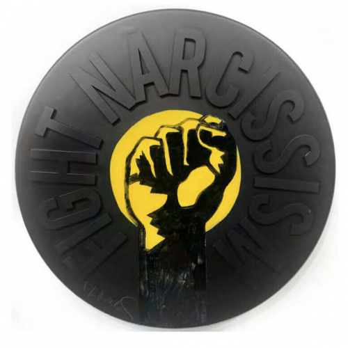 Fight Narcissism – Jumbo Campaign Button by DL Warfield at
