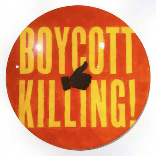Boycott Killing – Jumbo Campaign Button by DL Warfield at