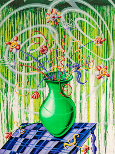 Flores (Green) by Kenny Scharf at