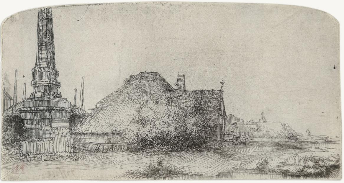 Cottage and Obelisk on the Spaarndammerdijk by Harmensz van Rijn Rembrandt